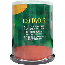 Compucessory DVD Recordable Media - DVD-R - 16x - 4.70 GB - 100 Pack - 120mm - 2 Hour Maximum Recording Time