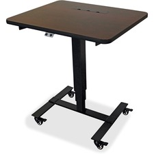 """Lorell Mahogany Laminate Top Mobile Sit-To-Stand Table - Black Rectangle, Mahogany Laminate Top - 27"""" Table Top Width x 24"""" Table Top Depth - 30"""" Height - Assembly Required"""