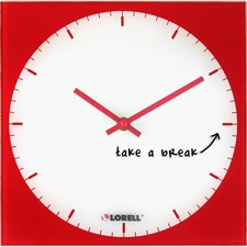 LLR 19211 Lorell Write-and-wipe Magnetic Glass Clock LLR19211