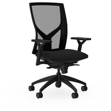 "Lorell High-Back Mesh Chairs with Fabric Seat - Fabric, Foam Seat - Black - 26.3"" Width x 25"" Depth x 47"" Height"
