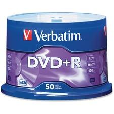VER 95037 Verbatim 16X Speed Branded DVD+R Spindle VER95037