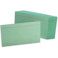 OXF 7321GRE Oxford Colored Ruled Index Cards OXF7321GRE