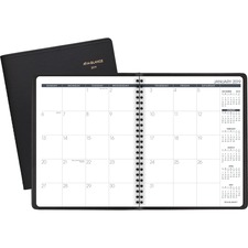 "At-A-Glance Monthly Planner - Yes - Monthly - 1 Year - January 2019 till December 2019 - 2 Month Double Page Layout - 6 7/8"" x 8 3/4"" - Leather, Paper, Poly - Black - Bleed Resistant, Appointment Schedule, Event Planning Sheet, Double-sided, Perforated Memo Section, Storage Pocket, Reference Calendar, Durable"
