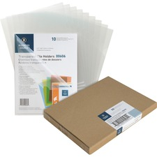 "Business Source Transparent Poly File Holders - Letter - 8 1/2"" x 11"" Sheet Size - 20 Sheet Capacity - Polypropylene - Clear - 50 / Box"