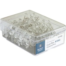 "Business Source 1/2"" Head Push Pins - 0.50"" Head - 100 / Box - Clear - Steel"