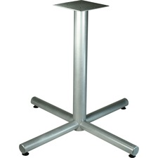 """Lorell Hospitality Collection X-Leg Table Base - Metallic Silver X-shaped Base - 30"""" Height x 36"""" Width x 36"""" Depth - Assembly Required"""