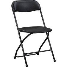 "Lorell Plastic Folding Chair - X-Style Base - Black - Plastic - 17.8"" Length x 17"" Width x 31.5"" Height"