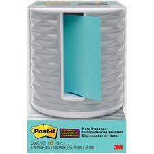 """Post-it® Pop-up Aqua Notes Vertical Dispenser - 3"""" x 3"""" Note - Light Gray"""