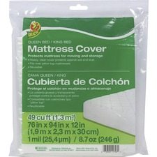 DUC 1140236 Duck Brand Queen/King Mattress Cover - Clear, 76 in. x 94 in. x 12 in.
