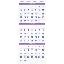 "At-A-Glance 3 Months Reference Wall Calendar - Monthly - 12.25"" x 27\"" - December till January - 3 Month Per 1 Page(s) - Paper, Chipboard Back Board - White"