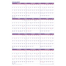 "At-A-Glance PM12-28 Yearly Wall Calendar - Yearly - 24"" x 36\"" - January till December - 1 Year Per 1 Page(s) - Paper - White, Blue"