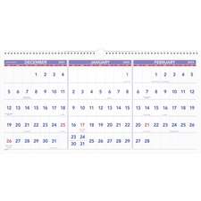 AAG PM1428 At-A-Glance Recycled 3-Mth Horizntl Wall Calendar AAGPM1428