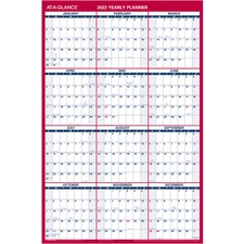 "At-A-Glance Double-sided Wall Calendar - Yearly - 36"" x 24\"" - January till December - Red, Blue, Gray, Bright White"