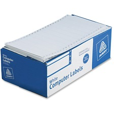 "Avery Pin Fed Label - 5"" Width x 0.93\"" Length - Permanent - 5000 / Box - White"