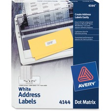"""Avery Mailing Label - 2.5\"""" Width x 0.93\"""" Length - Permanent - 3000 / Box - Bright White"""