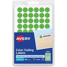 AVE 05052 Avery Removable Color Coding Labels AVE05052