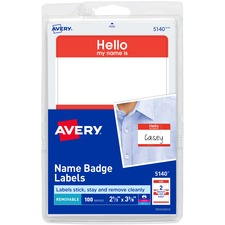 AVE 5140 Avery Border Print/Write Hello Name Badge Labels  AVE5140
