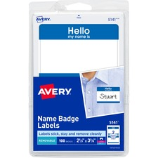 AVE 5141 Avery Border Print/Write Hello Name Badge Labels  AVE5141
