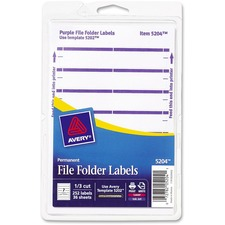 AVE 05204 Avery Permanent 1/3 Cut File Folder Labels AVE05204