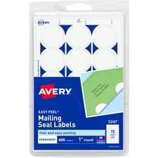 AVE 05247 Avery East Peel Round Mailing Seals AVE05247