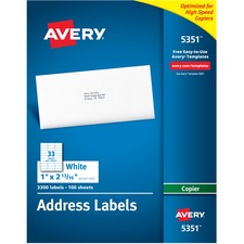 AVE 5351 Avery White Copier Mailing Address Labels AVE5351