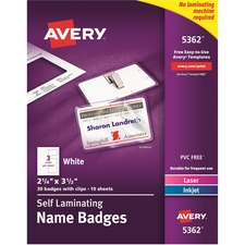 AVE 5362 Avery Laminated Laser/Inkjet Name Badges AVE5362
