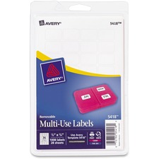 AVE 05418 Avery Removable Print/Write Rectangular Labels AVE05418