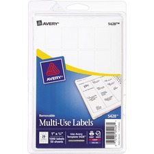 AVE 05428 Avery Removable Print/Write Rectangular Labels AVE05428