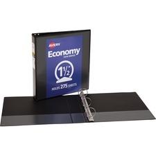 "Avery® Economy View Binder - without Merchandising - 1 1/2"" Binder Capacity - Letter - 8 1/2"" x 11"" Sheet Size - 275 Sheet Capacity - 3 x Round Ring Fastener(s) - 2 Internal Pocket(s) - Vinyl - Black - 15.84 oz - Gap-free Ring, Rivet, Clear Overlay, Non Locking Mechanism - 1 Each"