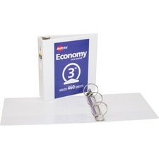 "Avery® Economy View Binders with Round Rings - without Merchandising - 3"" Binder Capacity - Letter - 8 1/2"" x 11"" Sheet Size - 460 Sheet Capacity - 3 x Round Ring Fastener(s) - 2 Internal Pocket(s) - Vinyl - White - 1.79 lb - Recycled - Gap-free Ring, Rivet, Clear Overlay, Non Locking Mechanism - 1 Each"