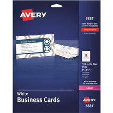 AVE 5881 Avery Standard Two-Side Printable Microperforated Business Cards AVE5881