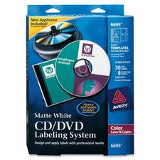 Avery Matte White CD/DVD Design Kit - Clear