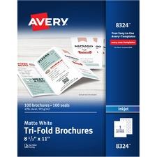 AVE 8324 Avery Inkjet Matte Tri-fold Brochure/Flyer Paper AVE8324