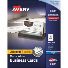 AVE 8870 Avery Clean Edge Custom 2-Sided Business Cards AVE8870