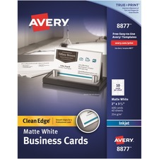 AVE 8877 Avery Clean Edge Custom 2-Sided Business Cards AVE8877