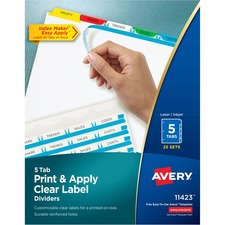 AVE 11423 Avery Index Maker Clear Label Punched Dividers with Color Tabs AVE11423