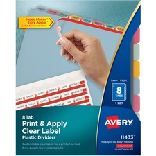 AVE 11433 Avery Index Maker Clear Label Punched Translucent Dividers AVE11433