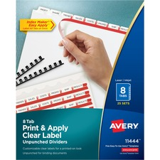 AVE 11444 Avery Index Maker Clear Label Unpunched Dividers for Binding Systems with White Tabs AVE11444