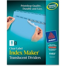 AVE 11453 Avery Index Maker Clear Label Punched Translucent Dividers AVE11453