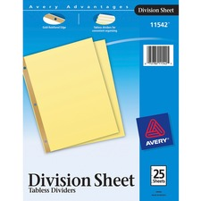 AVE 11542 Avery Gold Line 3-Hole Reinforced Sheet Dividers AVE11542