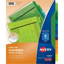 Avery Big Tab Plastic Insertable Divider - 8 x Tab Print-on - 8 / Set - Multicolor Tab