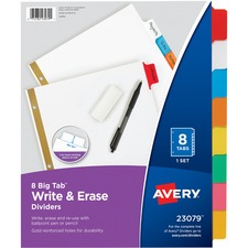 AVE 23079 Avery Big Tab Write-On Dividers w Erasable Tabs AVE23079