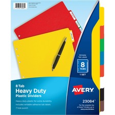 AVE 23084 Avery Plastic Tab Dividers w/ White Labels AVE23084