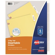 AVE 23281 Avery WorkSaver Big Tab Insertable Dividers AVE23281