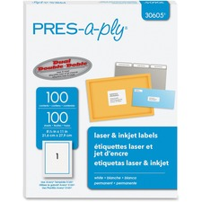 AVE 30605 Avery Press-A-Ply Standard Full-sheet Laser Labels AVE30605