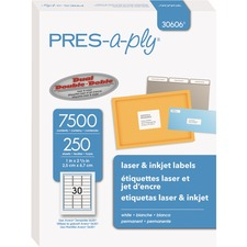AVE 30606 Avery Pres-a-ply Laser/Inkjet Address Labels AVE30606