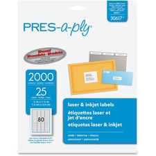 AVE 30617 Avery Press-A-Ply Return Address Laser Labels AVE30617