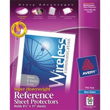 AVE 74131 Avery Heavyweight and Super Heavyweight Easy Load Non-Glare Sheet Protector AVE74131