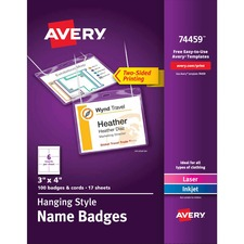 AVE 74459 Avery Laser/Inkjet Neck Hanging Name Badge Kits AVE74459