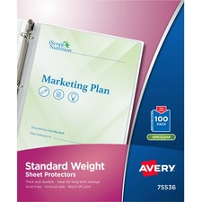 AVE 75536 Avery Standard and Economy Weight Clear and Semi-Clear Sheet Protector AVE75536